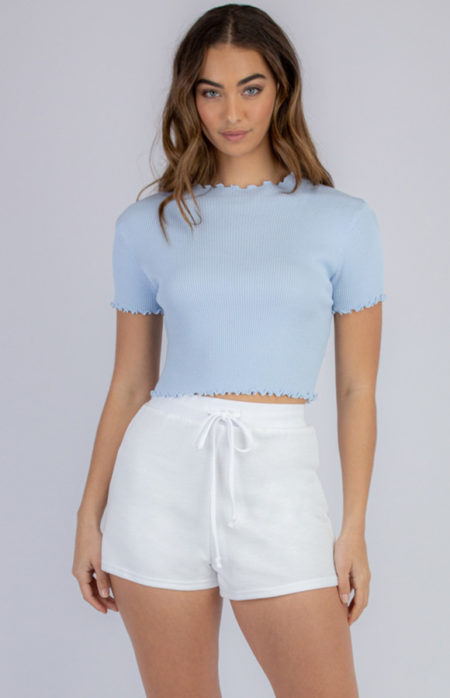 Lettuce Edge Crop Knit Powder Blue
