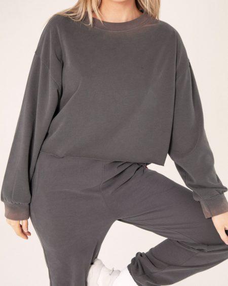 Bayse Raw Hem Sweater Charcoal