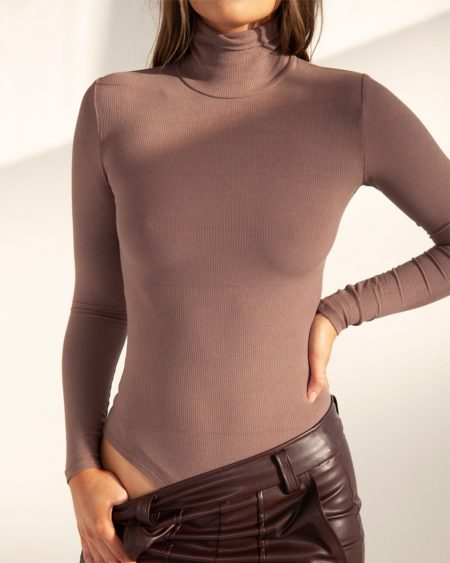 Bayse Turtle Neck Bodysuit Brown