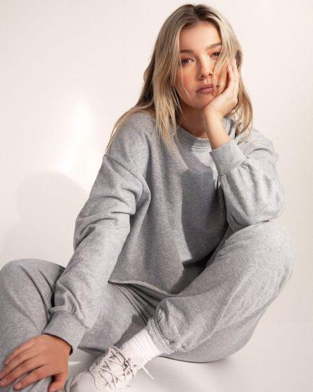 Bayse Raw Hem Sweater Grey Marle