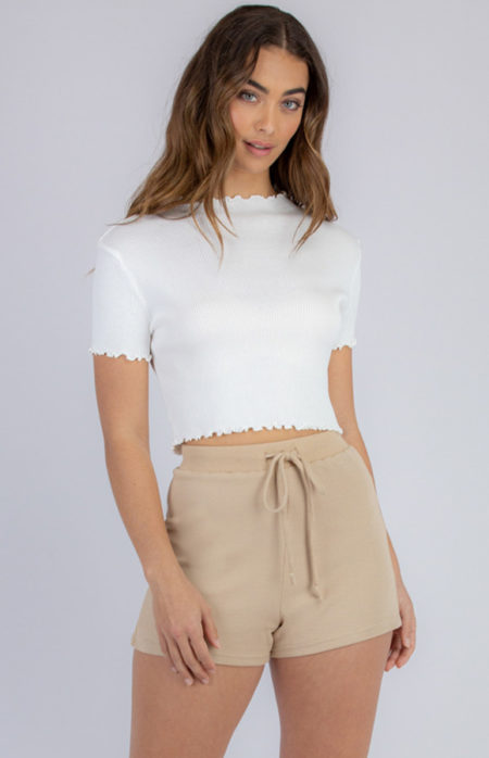Lettuce Edge Crop Knit White