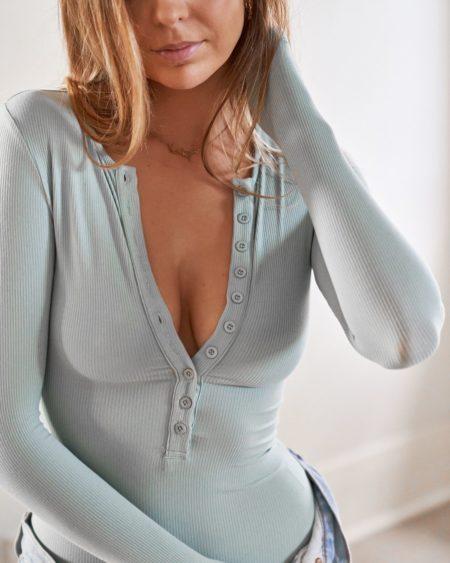 Bayse L/S Button Down Bodysuit Sage
