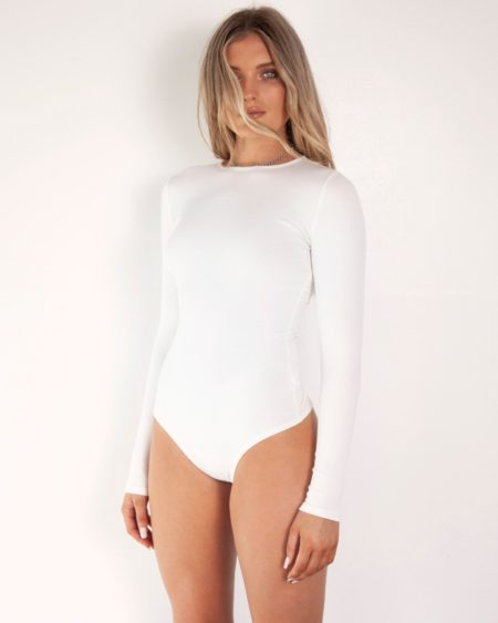 Bayse C-Neck Bodysuit White