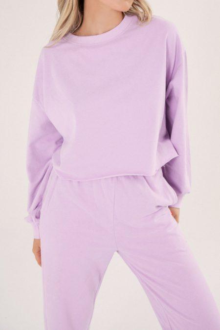 Bayse Raw Hem Sweater Lilac