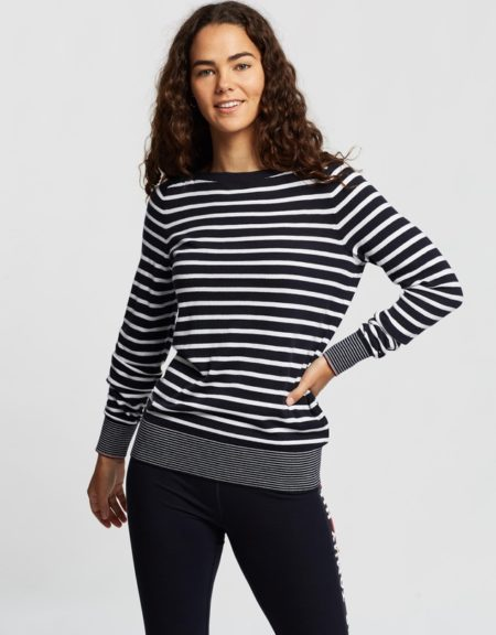 TH Stripe Boat Neck Knit Sweater Navy