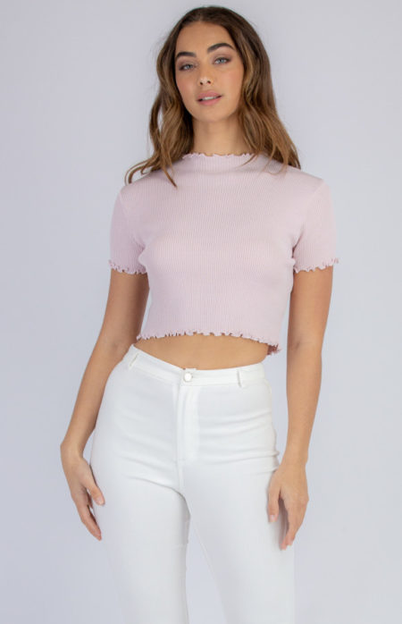 Lettuce Edge Crop Knit Blush