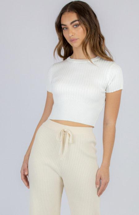 Rib Crop Knit White