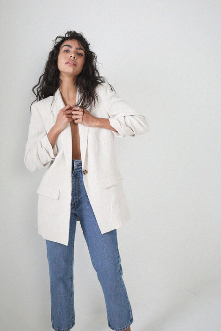 Bardot Tuck Sleeve Linen Blazer
