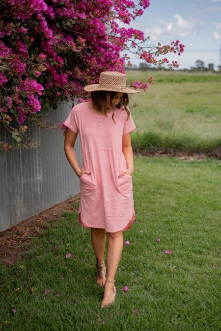 Relaxed Tee Dress Fluro Peach