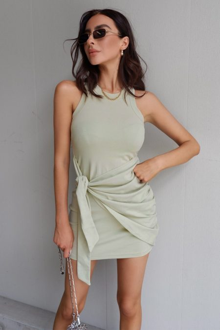 Tau Tie Dress Sage