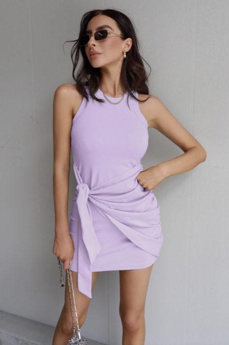 Tau Tie Dress Lilac
